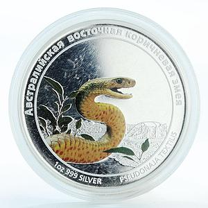 Tuvalu 1 dollar Eastern brown snake colored proof silver coin 2011