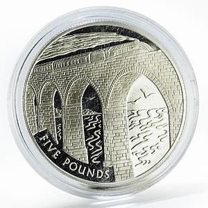 Alderney 5 pounds Train Crossing the Viaduct silver coin 2004