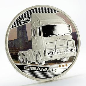 Tuvalu 1 dollar Trucks Gigamax colored silver coin 2010