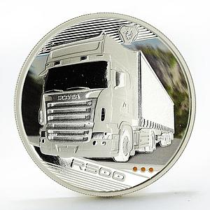 Tuvalu 1 dollar Trucks R500 colored silver coin 2010