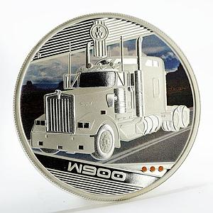Tuvalu 1 dollar Trucks W900 colored silver coin 2010
