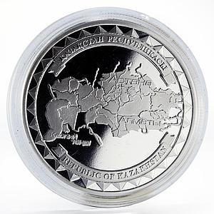 Kazakhstan The State Map proof silver coin