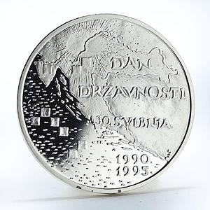 Croatia 100 kuna 5th Anniversary of Independence proof silver coin 1995