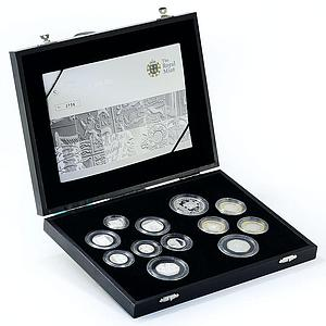 United Kingdom set of 12 coins The Royal Arms and Technology gilded silver 2009