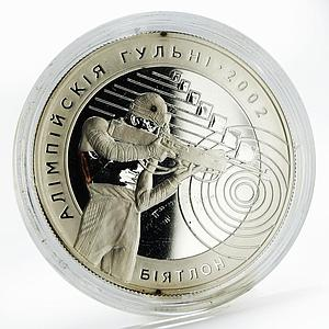 Belarus 20 rubles Olympic Games Biathlon proof silver coin 2001