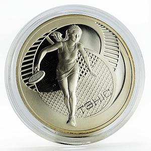 Belarus 20 rubles Tennis sport proof silver coin 2005