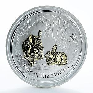 Australia 1 dollar Year of the Rabbit Series II Silver Gilded Coin 2011