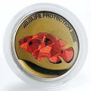Congo 5 francs Red Perch Fish copper-nickel coin 2005