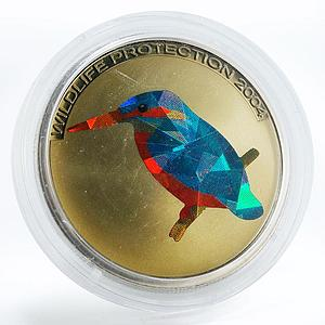 Congo 5 francs Kingfisher bird colored copper-nickel coin 2004