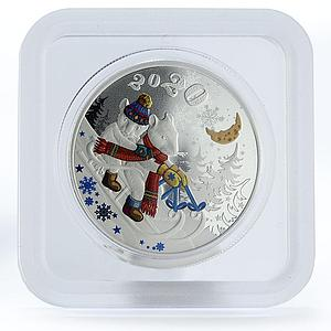 Laos 50000 kip Happy New Year mouses colored silver coin 2020