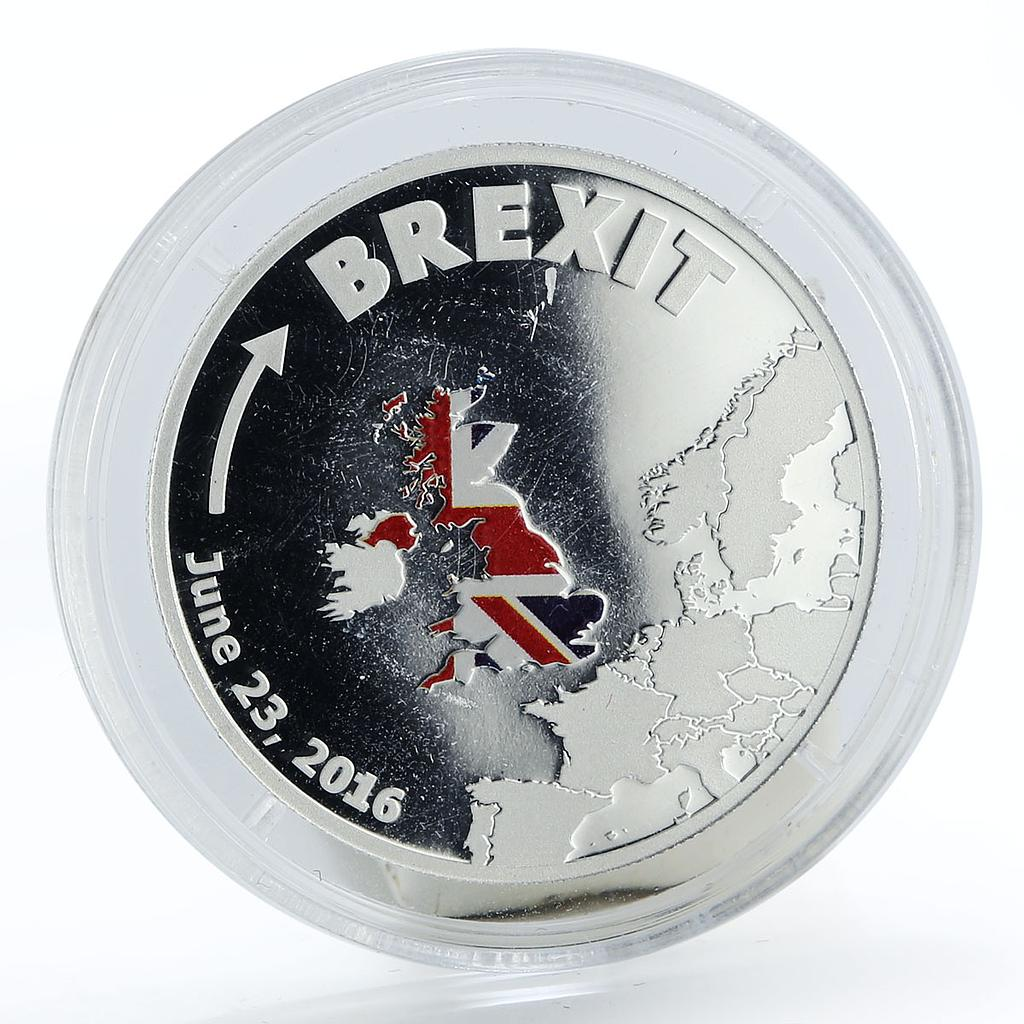 Cook Islands 1 dollar Brexit 23 June colored proof silver coin 2016