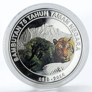 Malaysia 10 ringgit 75th Anniversary of National Park tiger silver coin 2014