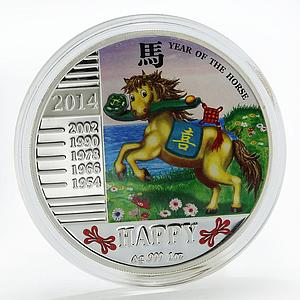 Congo 240 francs Year of the Horse Happy colored silver coin 2014
