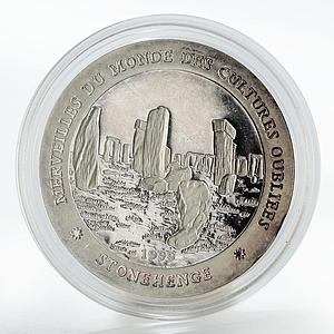 Chad 1000 francs Stonehenge proof silver coin 1999