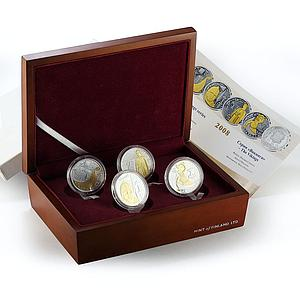 Andorra set 4 coins The Vikings gilded silver 2008