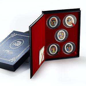 Belarus set 5 coins Alexander Pushkin Fairy Tales colored silver 2009