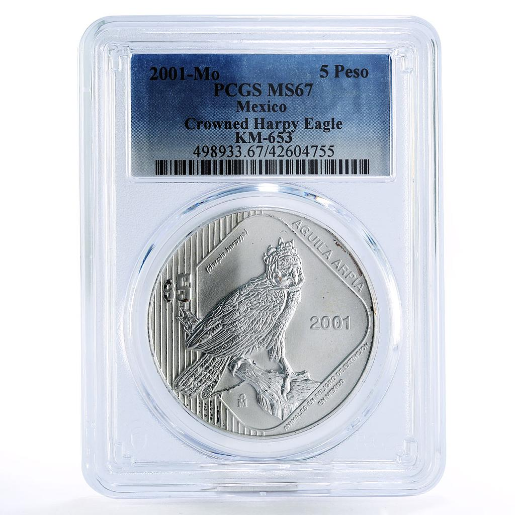 Mexico 5 pesos Crowned Harpy Eagle Aguila Arpia silver coin 2001
