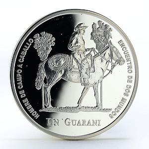 Paraguay 1 guarani Man and his Horse proof silver coin 2000