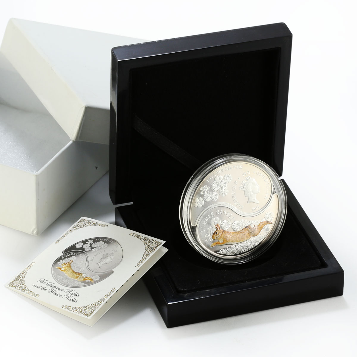 Fiji set 2 coins The Summer Rabbit and Winter Rabbit colored silver 2011