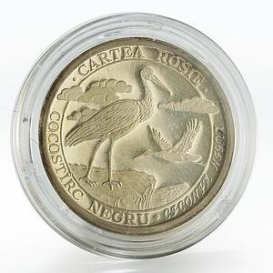 Moldova 10 lei Black stork proof silver coin 2003