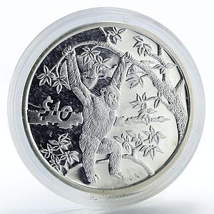 Sierra Leone 10 dollars Chimpanzee animals proof silver coin 2006