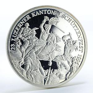Switzerland 50 francs Shooting Festival in Sempach proof silver coin 1996