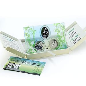 Singapore set 3 coins Giant Panda proof silver, copper-nickel 2012