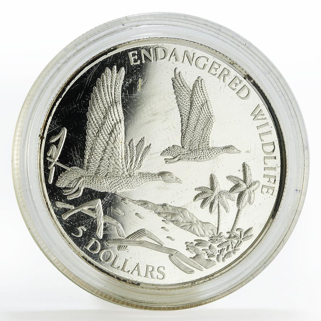 Bahamas 5 dollars Black-billed Whistling Duck silver coin 1994