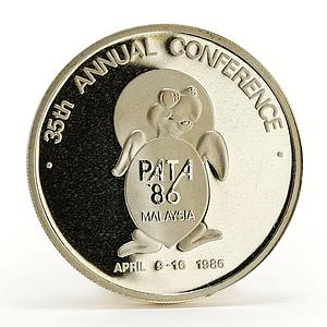 Malaysia 1 ringgit 35th Annual Conference Pacific Area Travel silver coin 1986
