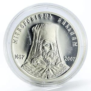 Moldova 50 lei Mitropolitul Varlaam proof silver coin 2007