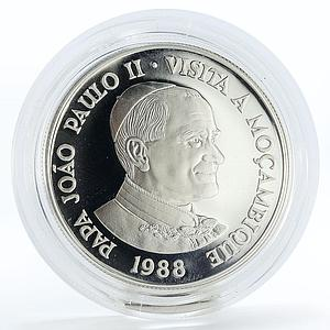 Mozambique 1000 meticais Visit Pope John Paul II proof silver coin 1988