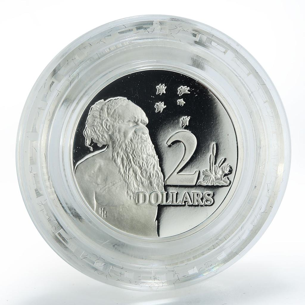 Australia 2 dollars Aboriginal Flora Southern Cross silver proof coin 1988