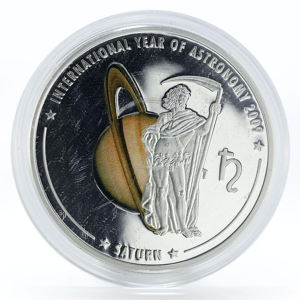 Cook Islands 5 dollars Astronomy Saturn colored proof silver coin 2009