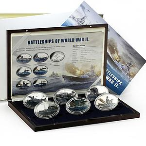 Tokelau set 6 coins Battleships of World War II copper-nickel silverplated 2013