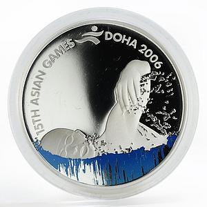 Qatar 10 riyals Asian Games Swimming proof silver coin 2006