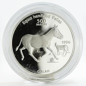 Turkmenistan 500 manat Red Book Gulan Onager fauna silver proof coin 1996