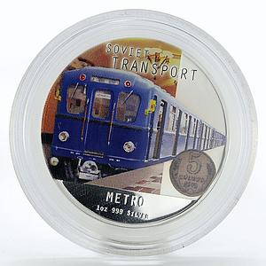 Niue 2 dollars Soviet Transport Metro proof colored silver coin 2010