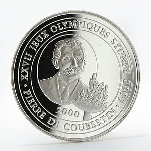 Congo 10 francs Olympic Games Sydney Coubertin silver coin 2000