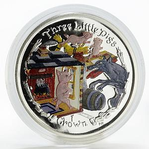 Isle of Man 1 crown Three Little Pigs colored silver coin 2007