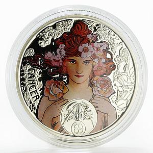 Niue 1 dollar A. Mucha Zodiac Series Cancer colored silver coin 2011