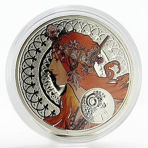 Niue 1 dollar A. Mucha Zodiac Series Aries colored silver coin 2011