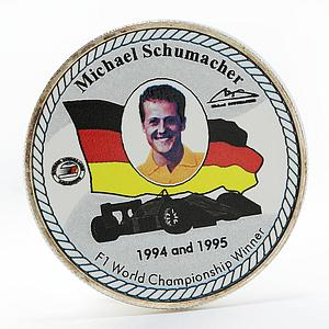 Uganda 2000 shillings F1 World Championship Winner Schumacher silver coin 1997