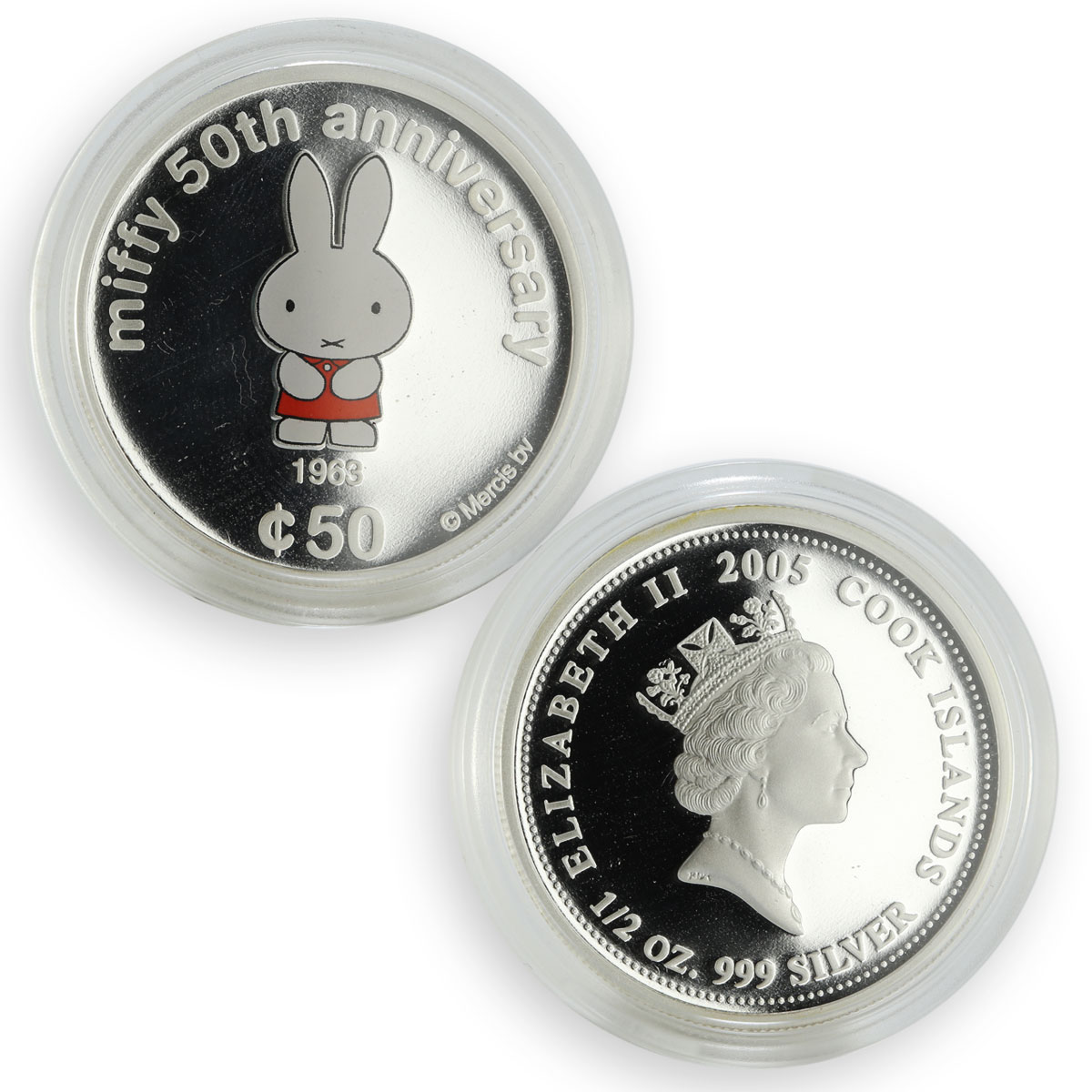 Cook Islands set 5 coins 50th Anniversary Miffy colored proof silver 2005