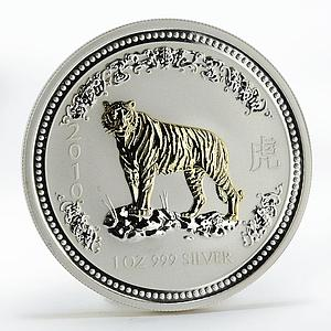 Australia 1 dollar Year of the Tiger Lunar Series I gilded silver coin 2010