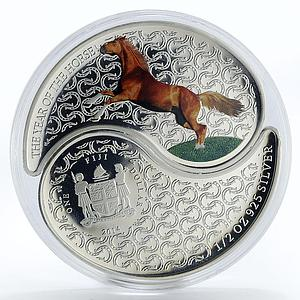 Fiji set 2 coins Year of the Horse Ying Yang colored proof silver 2014