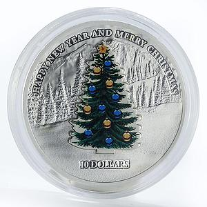 Nauru 10 dollars New Year Merry Christmas tree colored silver coin 2008