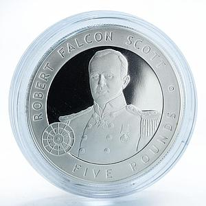 Bailiwick of Guernsey 5 pounds Robert Falcon Scott silver proof coin 2006