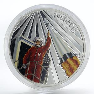 Malawi 50 kwacha Yuri Gagarin First Man in Space colored silver coin 2011
