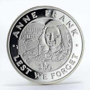 Tokelau 50 dollars Anne Frank World War Silver Coin 1993