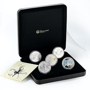 Tuvalu set 5 coins Famous Ballets colored proof silver coin 2010